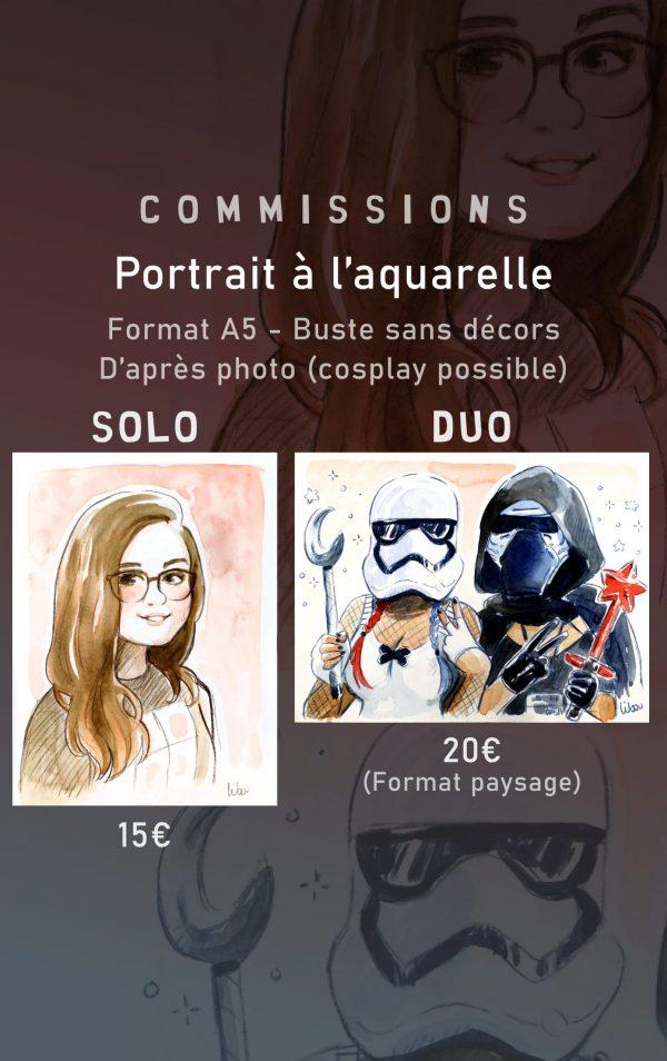 commission portrait aquarelle